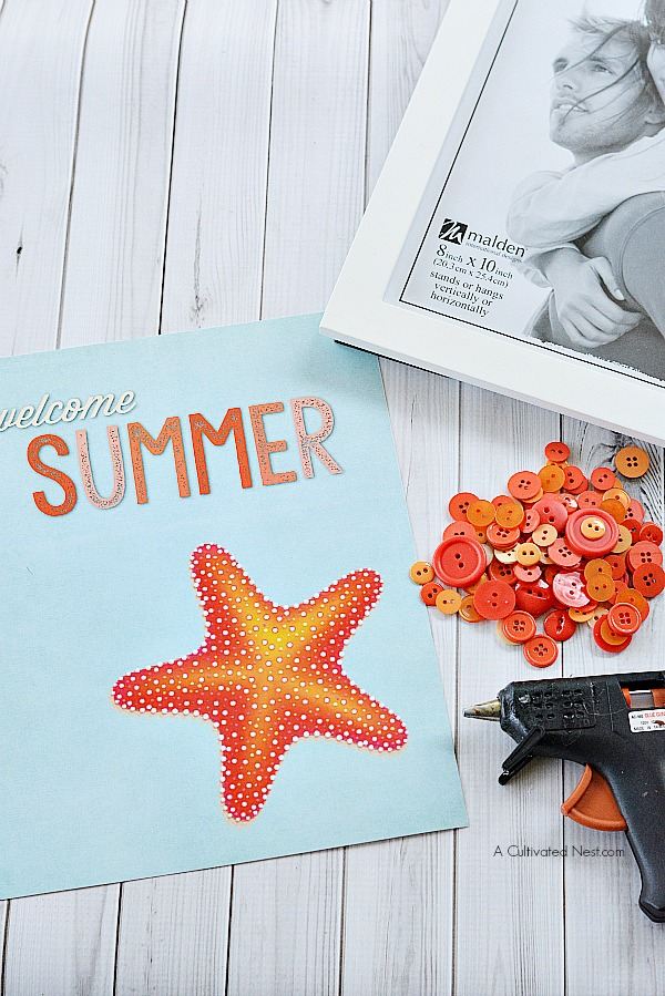 Starfish Welcome Summer Button Craft- Materials | #freePrintable #diy #craft #summer #printable #decor #wallArt #buttonCraft #kidsCraft