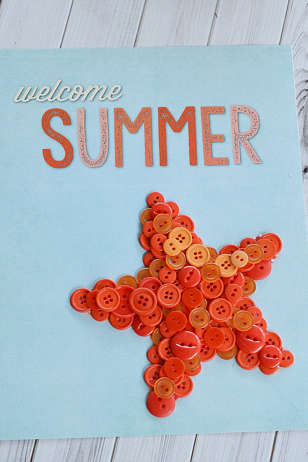 "Welcome Summer Starfish Button Craft + Free Printable- If you want to make some cute summer decor for your home, you need to make this easy ""Welcome Summer"" starfish button craft! It includes a free printable to cover with buttons, or you could just frame and display the printable as-is! 