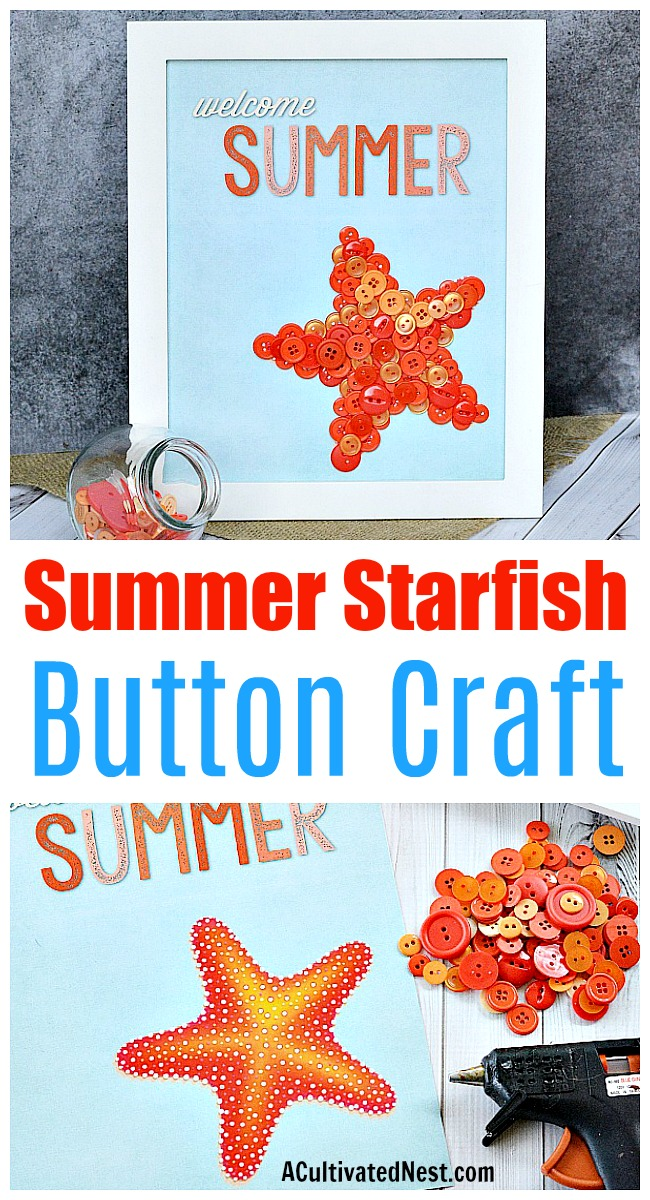 Welcome Summer Starfish Button Craft + Free Printable- If you want to make some cute summer decor for your home, you need to make this easy