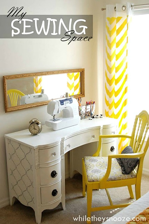 10 Inspiring Thrift Store Makeovers - thrift-store-sewing-desk-makeover