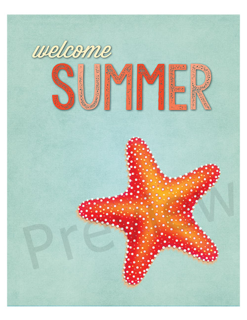 "Free Printable Welcome Summer Starfish Button Craft- If you want to make some cute summer decor for your home, you need to make this easy ""Welcome Summer"" starfish button craft! It includes a free printable to cover with buttons, or you could just frame and display the printable as-is! 