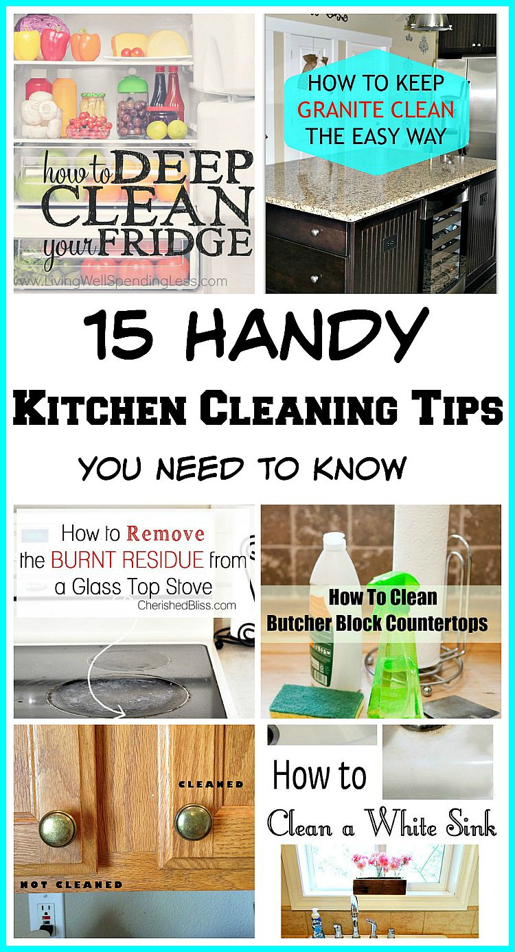 15 Handy Kitchen Cleaning Tips You Need To Know!! Lots of tips to help you clean even the most difficult areas of your kitchen!