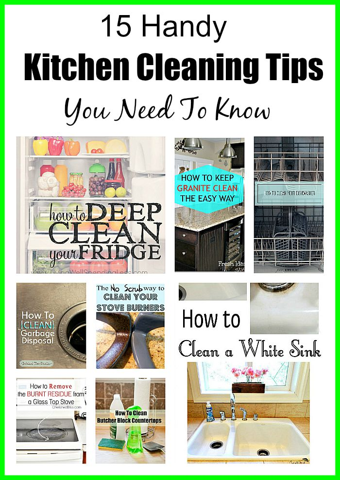15 Handy Kitchen Cleaning Tips You Need To Know- These kitchen cleaning hack sand tips will help you clean even the most difficult areas of your kitchen! | #cleaningTips #kitchen #homeCleaningTips #cleaningHacks #ACultivatedNest
