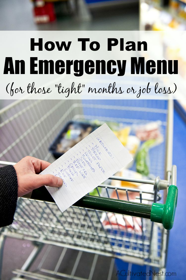 "How to plan an emergency menu for those ""tight"" months or if you suffer a job loss."