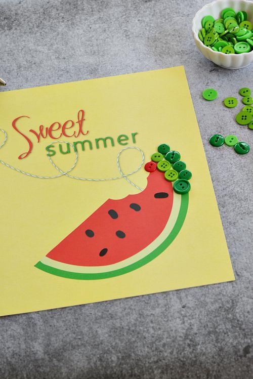 DIY Sweet Summer Watermelon Button Craft - Step 1