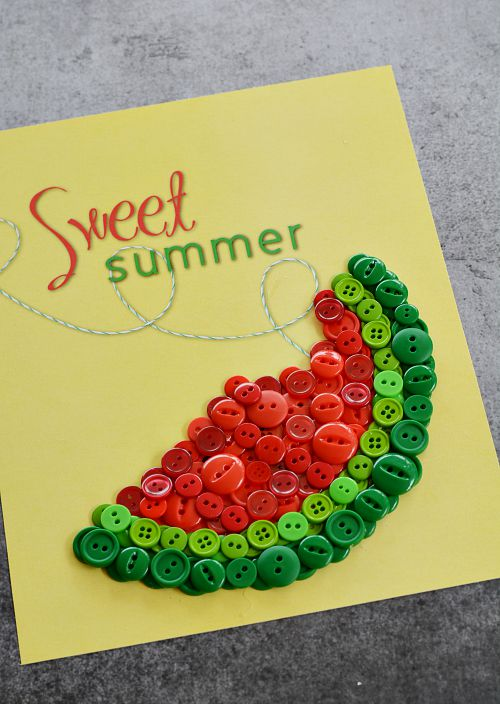 DIY Sweet Summer Watermelon Button Craft - Step 2