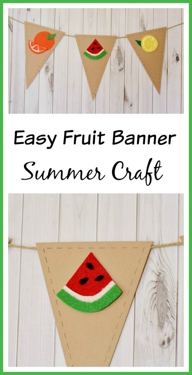 Summer is a time of delicious fruit and veggies! Celebrate this delicious season by making this cute and easy fruit banner summer craft!