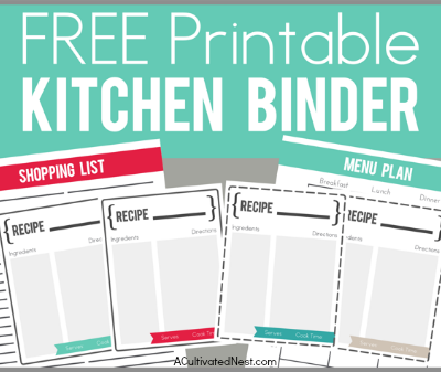 Free Printable Kitchen Binder