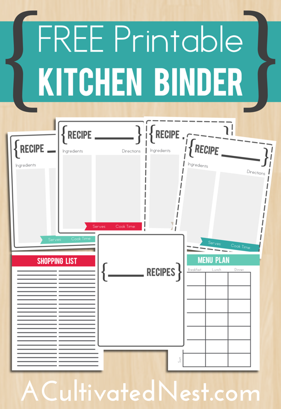 photo about Free Binder Printables known as No cost Printable Kitchen area Binder