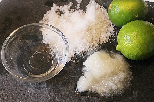 Ingredients for DIY Coconut Lime Salt Scrub