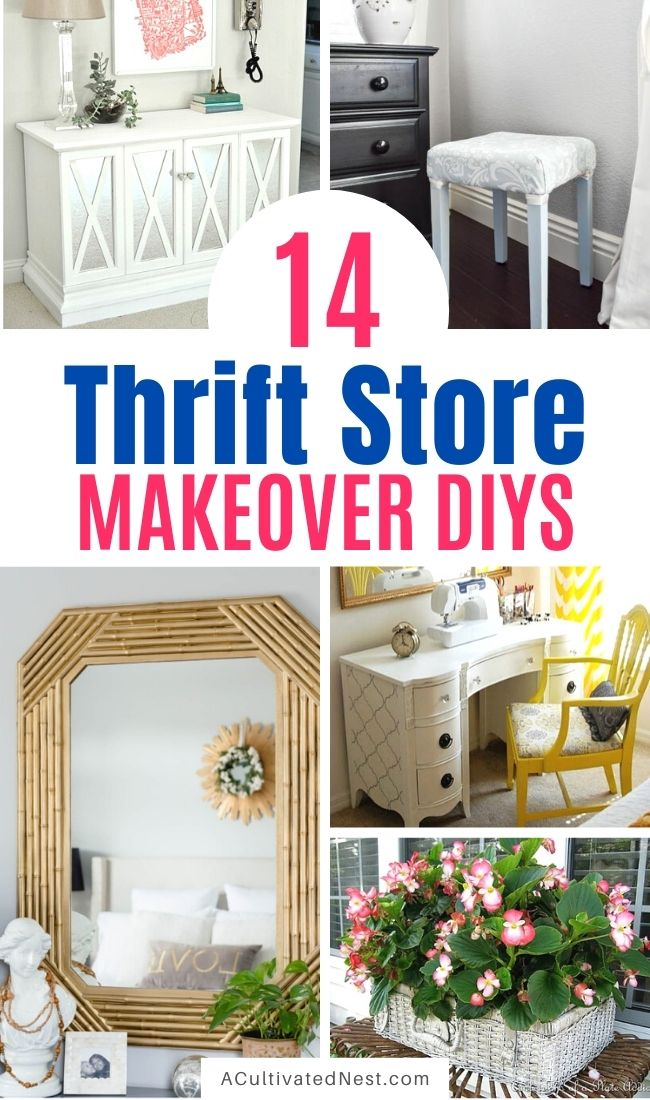 14 Inspiring Thrift Store Makeover Ideas- These beautiful thrift store makeover ideas are a wonderful way to update your home's decor on a budget! | #thriftStoreDIY #furnitureDIY #DIY #diyProject #ACultivatedNest