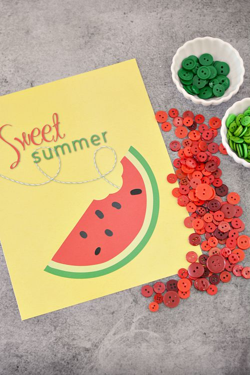 DIY Sweet Summer Watermelon Button Craft