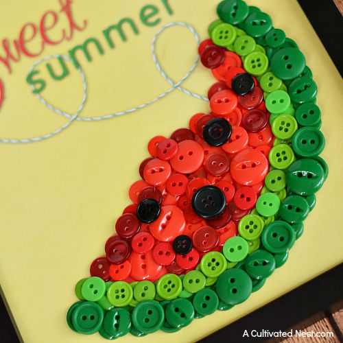 DIY Sweet Summer Watermelon Button Craft