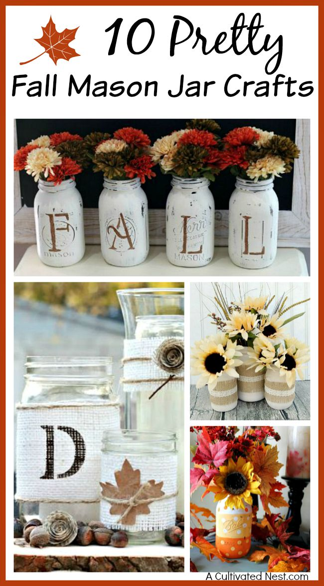 10 pretty fall Mason jar crafts