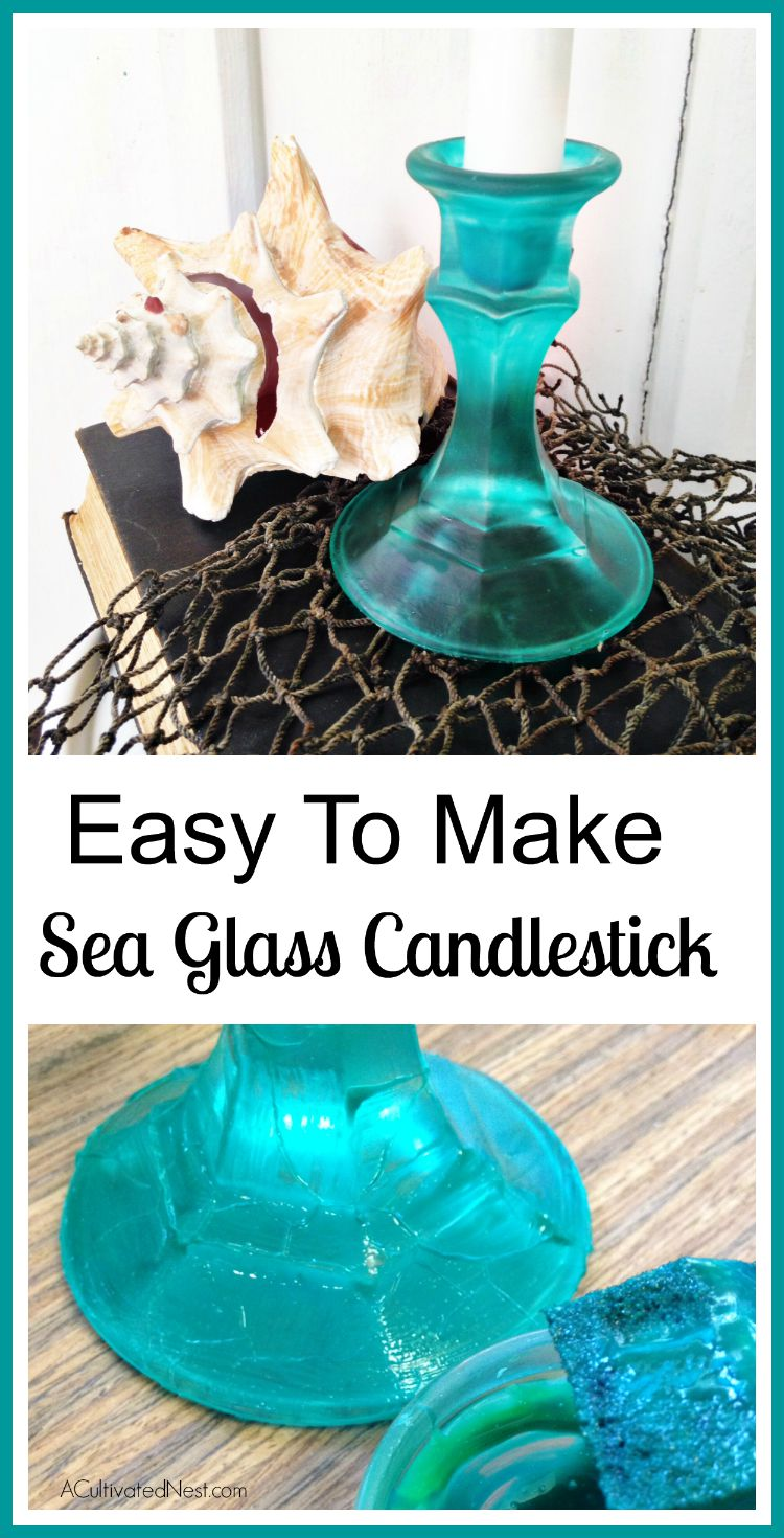 Easy DIY Sea Glass Candlesticks