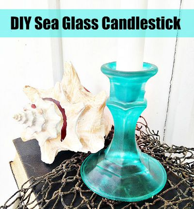 DIY Sea Glass Candlesticks - 15 DIY Beach Inspired Home Decor Projects so you can add a coastal vibe to your home on a budget! Coastal DIY home decor ideas, DIY projects, nautical home decor, beach cottage, easy crafts