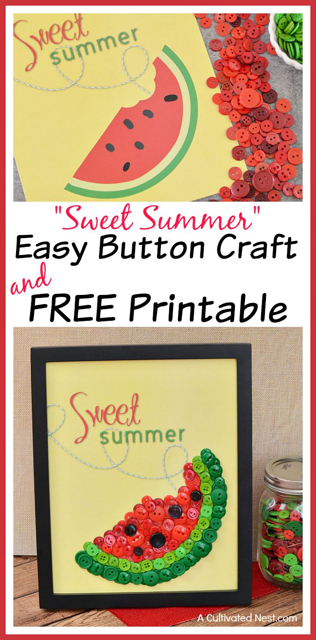 DIY Sweet Summer Watermelon Button Craft and Free Printable - This easy summer craft is fun for adults and kids! Plus, it's a great DIY wall art project! | DIY home decor, button crafts, free printable included #DIY #craft #summer #kidsCraft #printable #freePrintable
