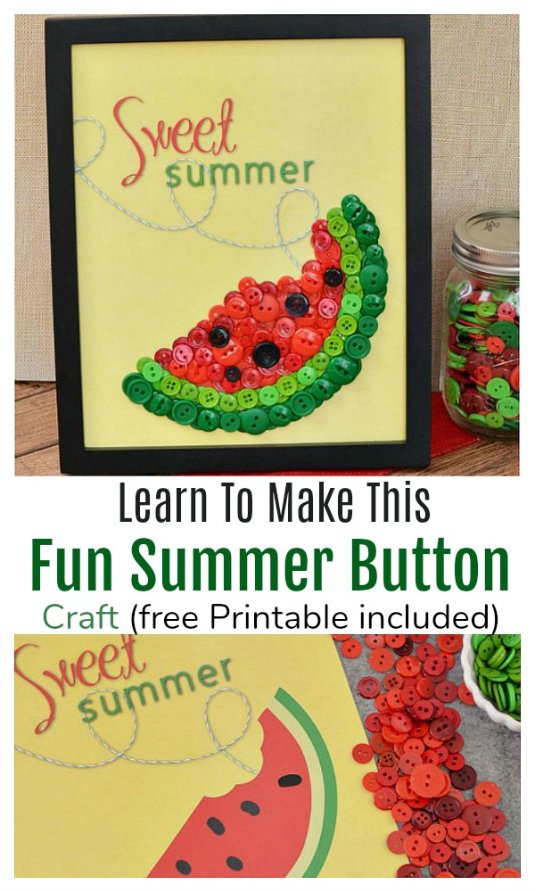 Easy Summer Button Craft - what a cute craft idea! Perfect for summer and easy for adults or kids to make. Free printable included DIY home decor, button crafts, adult crafts, kids crafts, summer crafts, summer decor