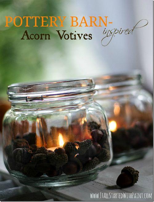 Fall Mason jar crafts- Acorn votives