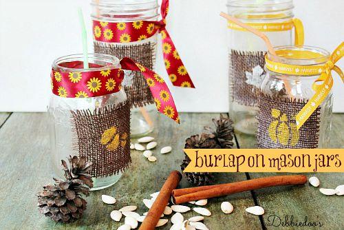 Fall Mason jar crafts- Burlap