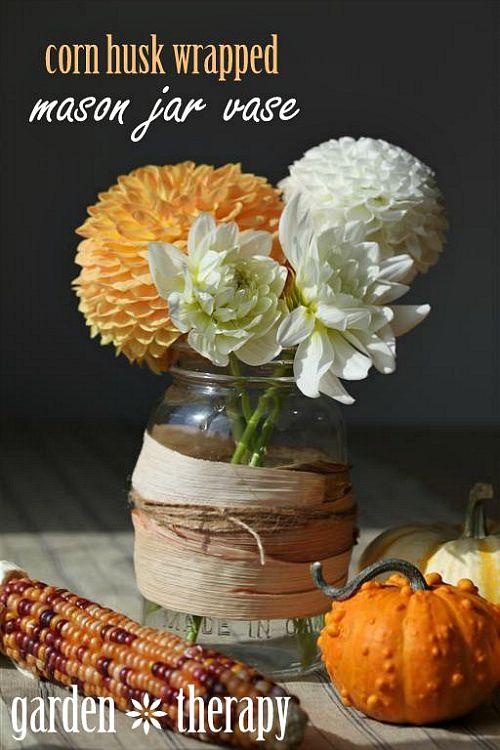 Fall Mason jar crafts- Corn husk wrapped