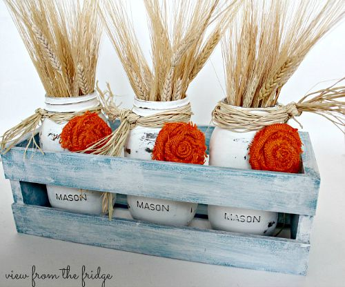 Fall Mason jar crafts- Fall centerpiece