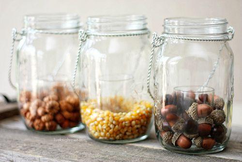 Fall Mason jar crafts- Hanging Mason jars