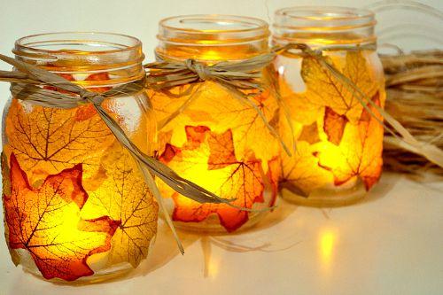 Fall Mason jar crafts- Mod Podge leaves