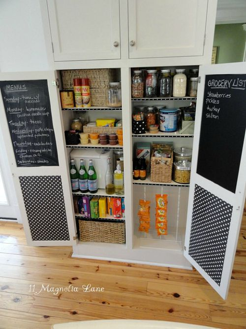 Pretty pantry organization ideas- cabinet pantry