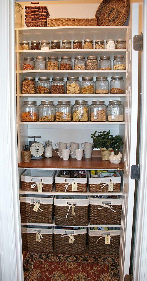 Pretty pantry organization ideas- jars and baskets