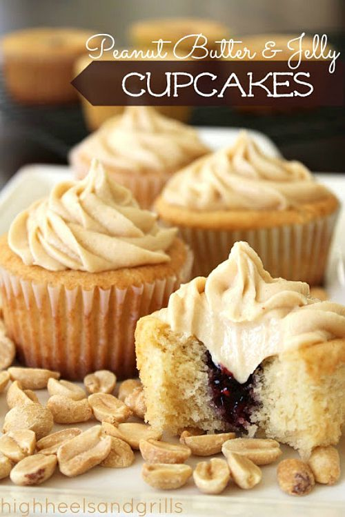 Peanut Butter And Jelly Cupcakes Recipe — Dishmaps
