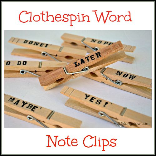 10 useful back to school organization ideas- clothespin word note clips
