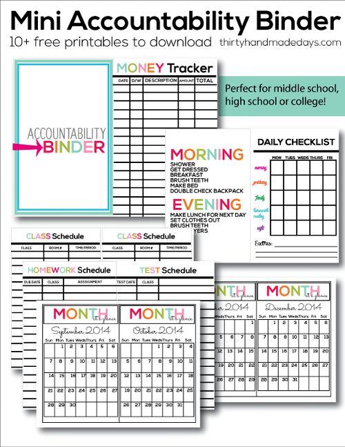 10 useful back to school organization ideas- free printable mini accountability binder