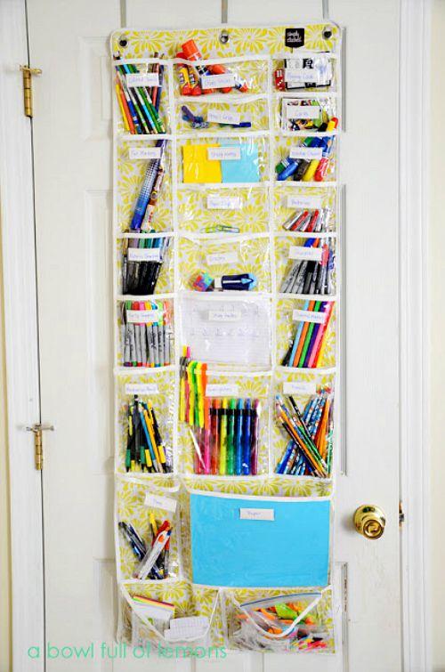 10 useful back to school organization ideas- over the door school supply organizer