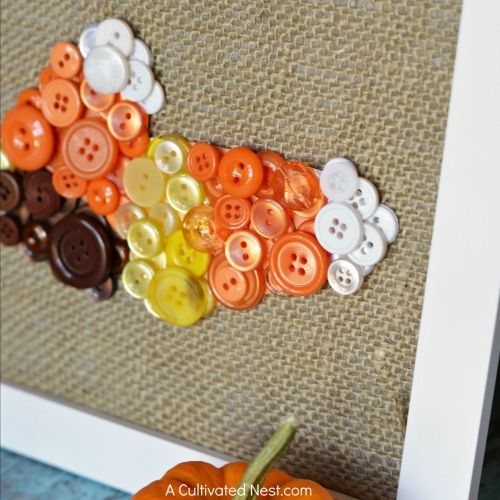 Cute candy corn fall button craft