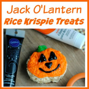 Cute Jack O'Lantern Rice Krispie Treats