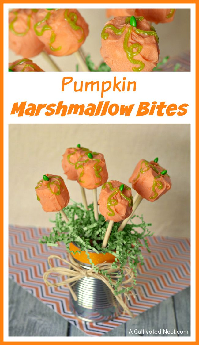 Pumpkin marshmallow bites