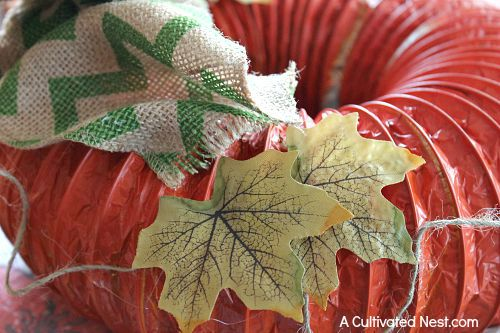 Easy DIY dryer vent pumpkin wreath