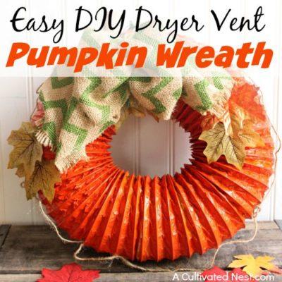 Easy DIY Dryer Vent Pumpkin Wreath