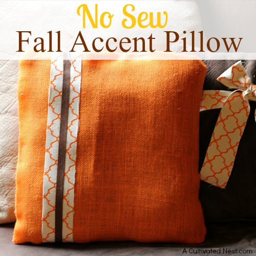 easy diy no sew fall accent pillow Diy Fall Throw Pillows