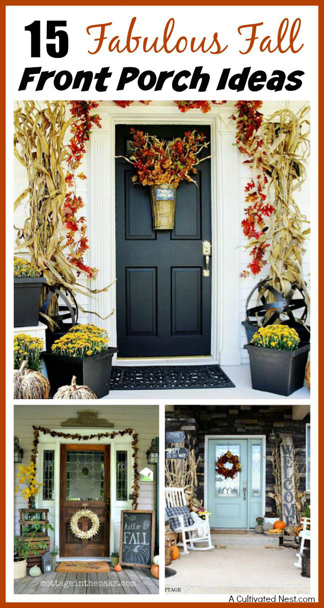 15 Fabulous Fall Front Porch Ideas - Unsure how to decorate your front porch for autumn? Take a look at these 15 fabulous fall front porch ideas and be inspired! | #fall #porchDecor #decorating #fallDecor #ACultivatedNest