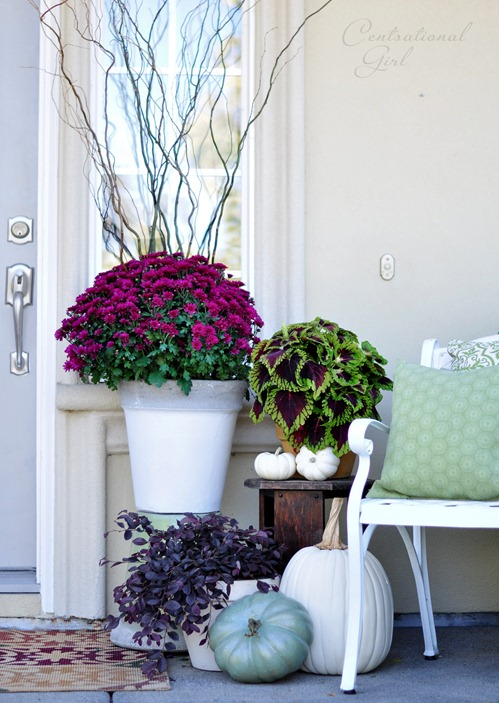 Vibrant Purple Porch- Unsure how to decorate your front porch for autumn? Take a look at these 15 fabulous fall front porch ideas and be inspired! | #fall #porchDecor #decorating #fallDecor #ACultivatedNest