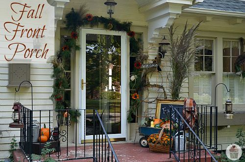 Garland Fall Front Porch- Unsure how to decorate your front porch for autumn? Take a look at these 15 fabulous fall front porch ideas and be inspired! | #fall #porchDecor #decorating #fallDecor #ACultivatedNest