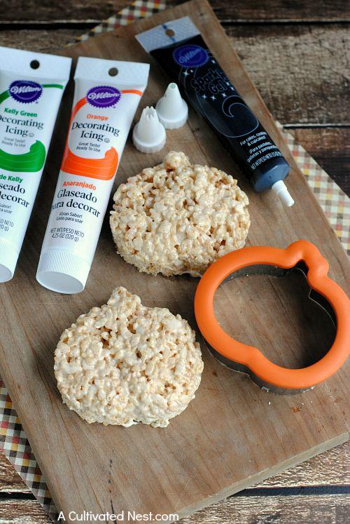 Cute Jack O'Lantern Rice Krispie Treats