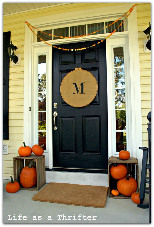 Pumpkin Fall Front Porch- Unsure how to decorate your front porch for autumn? Take a look at these 15 fabulous fall front porch ideas and be inspired! | #fall #porchDecor #decorating #fallDecor #ACultivatedNest