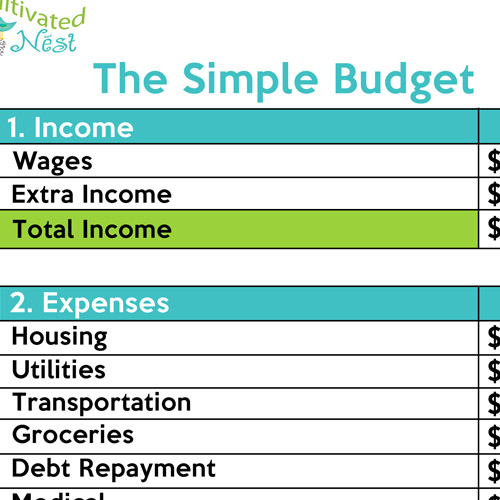 Simple Budgeting Worksheet – Budgeting Math Worksheets