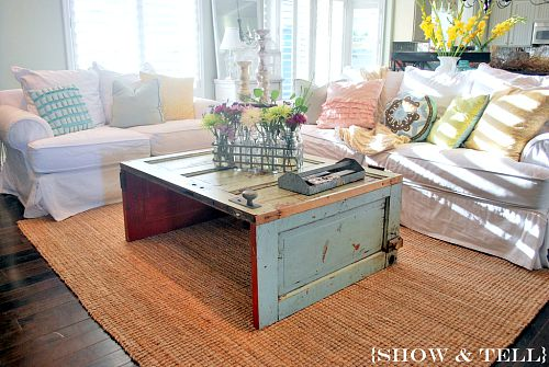 10 Creative Upcycled Door DIY Projects- Coffee Table