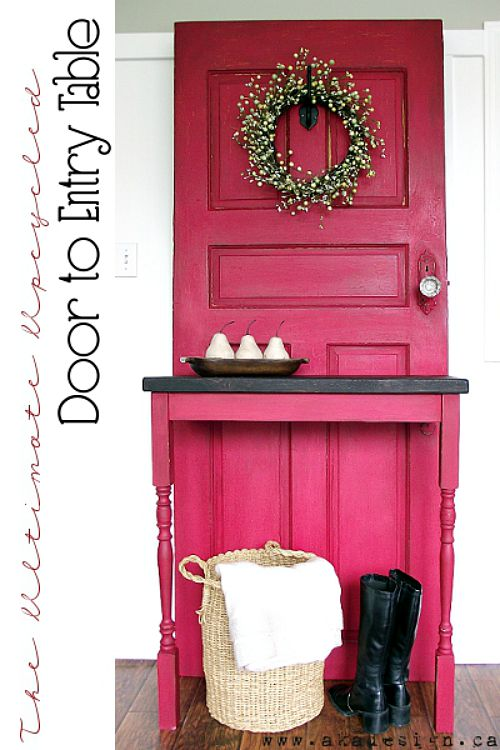 10 Creative Upcycled Door DIY Projects- Entry Table