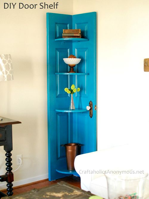 10 Creative Upcycled Door DIY Projects- Corner Shelf
