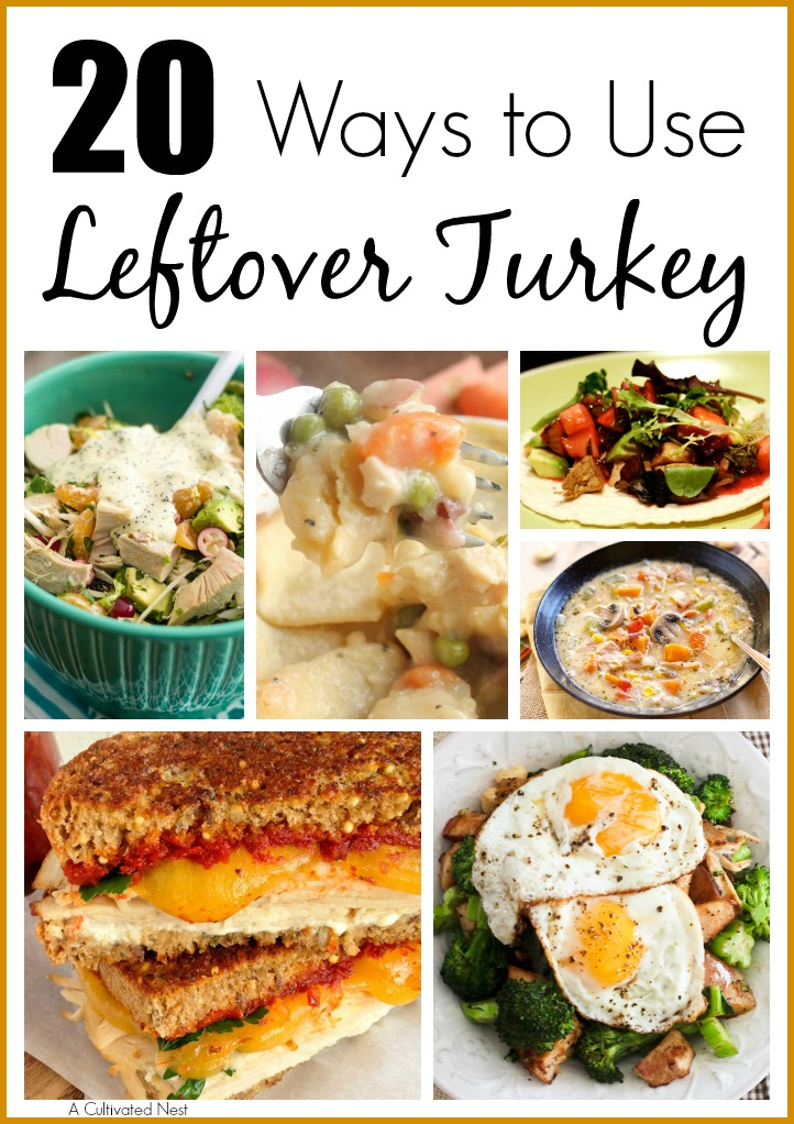 20 Ways To Use Leftover Turkey- If you have a lot of leftover turkey, don't worry, you don't have to eat a dozen turkey sandwiches! Instead, check out these 20 yummy and creative leftover turkey recipes! | extra turkey, excess turkey, ways to use up leftover Thanksgiving turkey, Christmas turkey, turkey soup, turkey tacos, turkey casseroles, food, #leftovers #turkey #ACultivatedNest